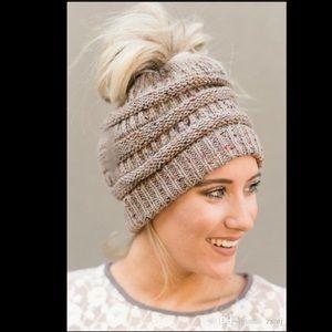 KHAKI Messy Bun Ponytail Knit Beanie Hat